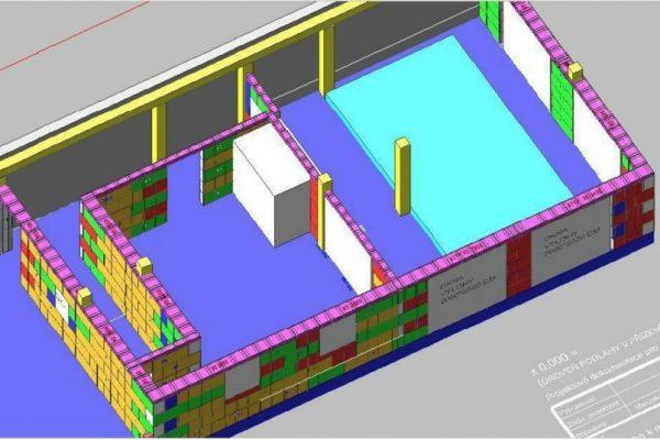 Výstavba RD Kfely-dřevostavba domu svépomocí | 3D model z výrobní dokumentace. - 3D model z výrobní dokumentace.