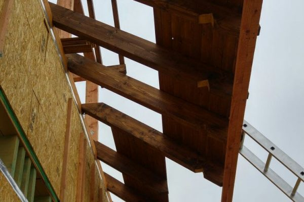 Výstavba RD Trubín-dřevostavba domu svépomocí- Čistá stavba – !! Stavba patra bez Koordinátora !! | Montáž palubkového podhledu. - Montáž palubkového podhledu.