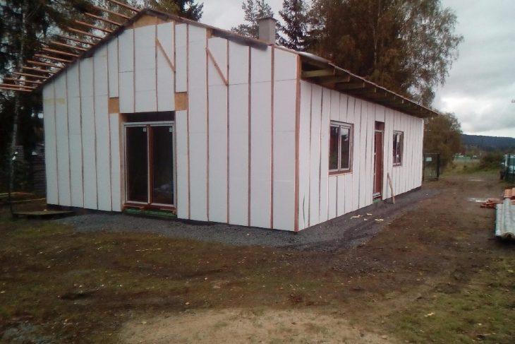 Postavený dům - Výstavba RD Velká Hleďsebe-dřevostavba domu svépomocí